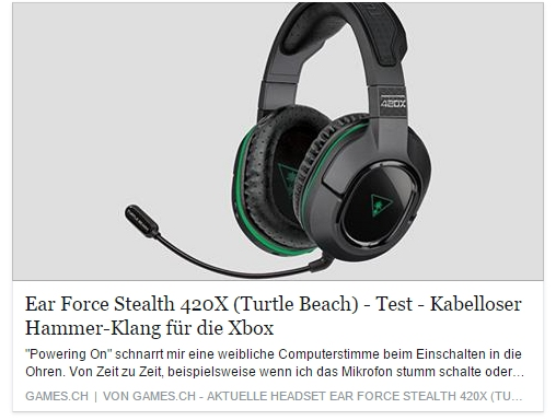 Ulrich Wimmeroth - Turtle Beach Headset 420X - games.ch