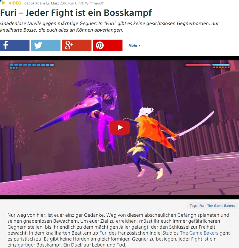 Ulrich Wimmeroth - Furi - Jeder Kampf ist ein Bosskampf - PlayStation Digital