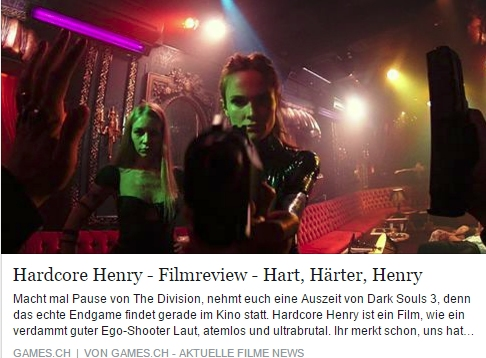 Hardcore Henry - Filmkritik - Ulrich Wimmeroth - games.ch