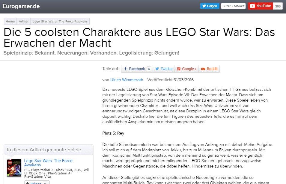 Ulrich Wimmeroth - LEGO Star Wars das Erwachen der Macht - eurogamer,de