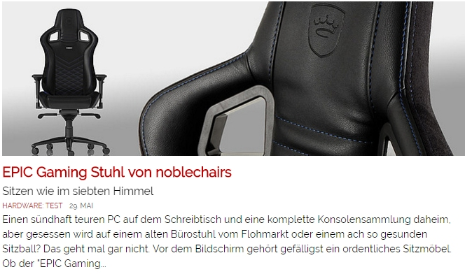 EPIC Gaming Seat von noblechairs - Ulrich Wimmeroth - Games.ch